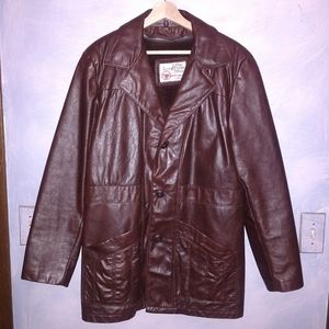 Vintage leather pea coat by The Leather Shop.